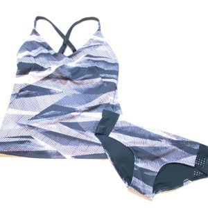 Nike | Black Grey Striped Athletic Tankini Suit